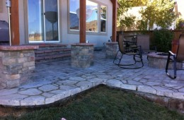 Paver Patio with Wall and Fire Pit